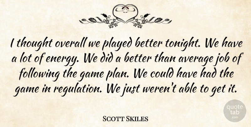 Scott Skiles Quote About Average, Following, Game, Job, Overall: I Thought Overall We Played...