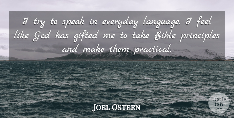 Joel Osteen Quote About Everyday, Trying, Principles: I Try To Speak In...