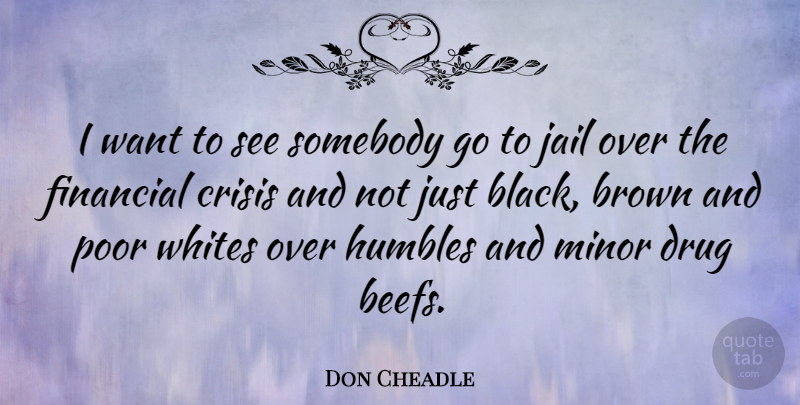 Don Cheadle Quote About Jail, Drug, Black: I Want To See Somebody...