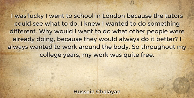 Hussein Chalayan Quote About Knew, London, Lucky, People, Quite: I Was Lucky I Went...