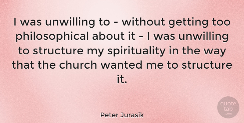 Peter Jurasik Quote About Philosophical, Church, Way: I Was Unwilling To Without...
