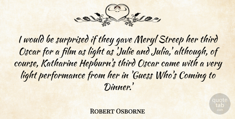 Robert Osborne Quote About Came, Coming, Gave, Meryl, Performance: I Would Be Surprised If...