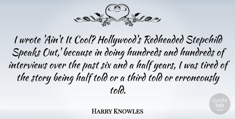 Harry Knowles Quote About Cool, Half, Interviews, Past, Six: I Wrote Aint It Cool...