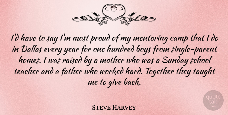 Steve Harvey: I\'d have to say I\'m most proud of my mentoring ...