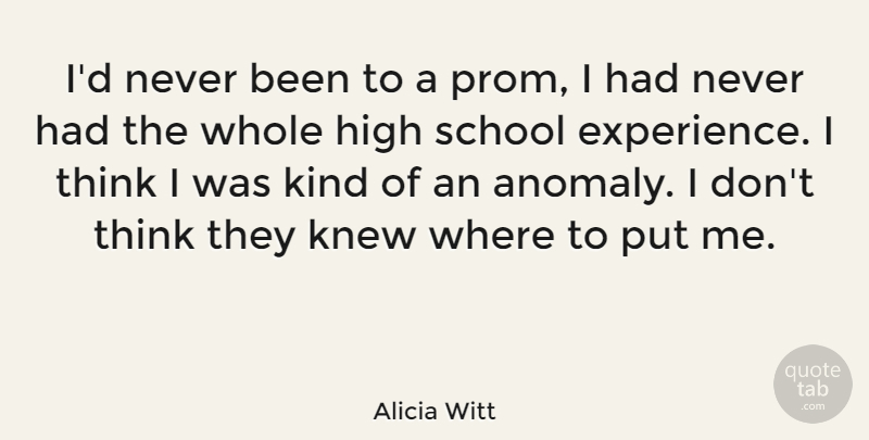 Alicia Witt Quote About School, Thinking, Experience: Id Never Been To A...