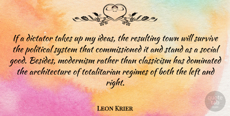 Leon Krier Quote About Ideas, Political, Towns: If A Dictator Takes Up...