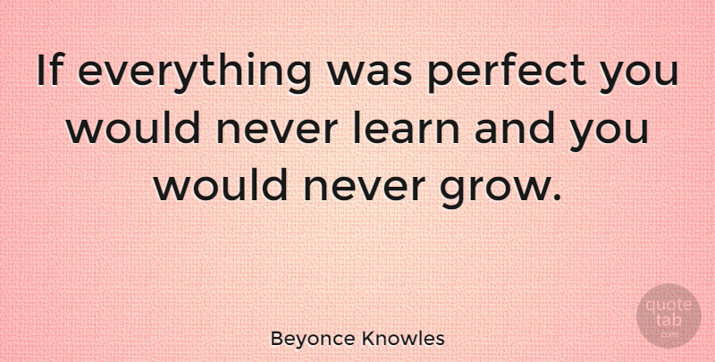 Beyonce Knowles Quote About Perfect, Grows, Ifs: If Everything Was Perfect You...