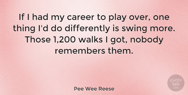Pee Wee Reese Quote About Play, Careers, Swings: If I Had My Career...