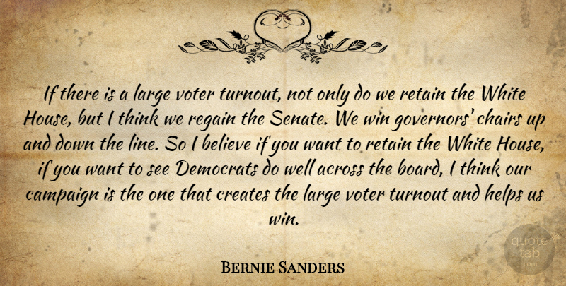Bernie Sanders Quote About Believe, Winning, Thinking: If There Is A Large...