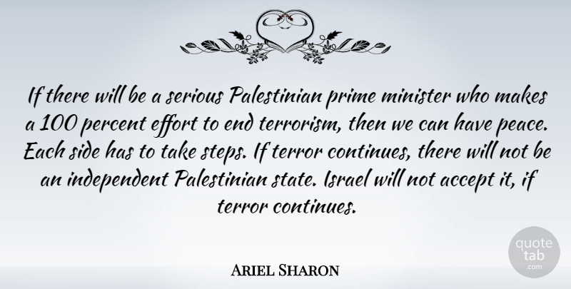 Ariel Sharon Quote About Independent, Israel, Effort: If There Will Be A...
