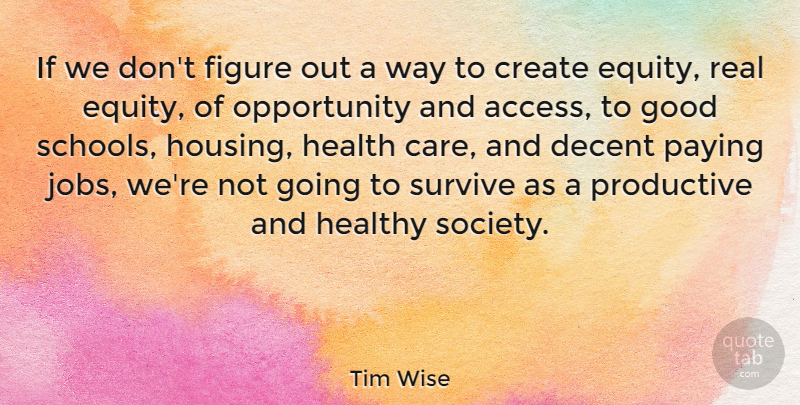 Tim Wise Quote About Create, Decent, Figure, Good, Health: If We Dont Figure Out...