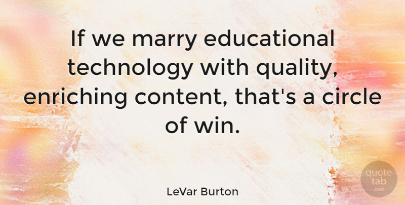 LeVar Burton Quote About Educational, Winning, Technology: If We Marry Educational Technology...