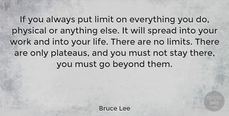 Bruce Lee If You Always Put Limit On Everything You Do Physical Or