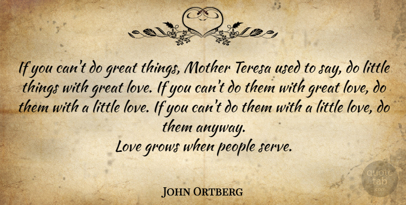 John Ortberg If You Cant Do Great Things Mother Teresa Used To