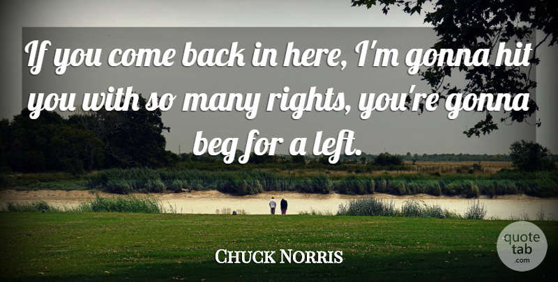 Chuck Norris Quote About Badass, Rights, Ifs: If You Come Back In...
