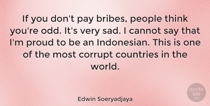Edwin Soeryadjaya Quote About Cannot, Countries, Pay, People, Sad: If You Dont Pay Bribes...