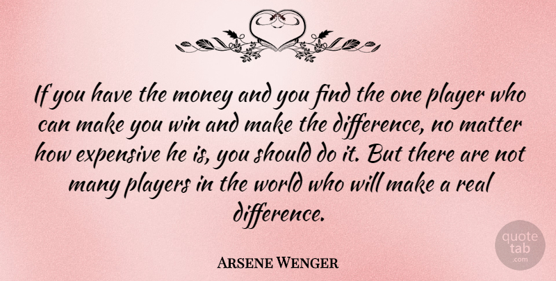 Arsene Wenger Quote About Expensive, Matter, Money, Player, Players: If You Have The Money...