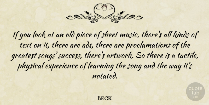 Beck Quote About Experience, Greatest, Kinds, Learning, Music: If You Look At An...