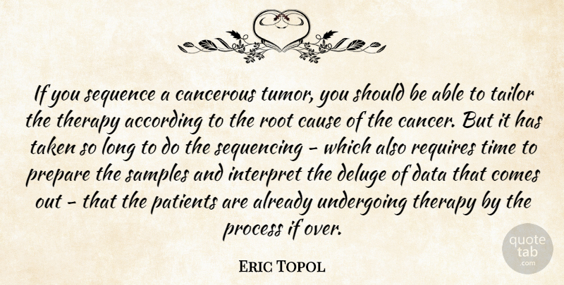 Eric Topol Quote About According, Cause, Interpret, Patients, Prepare: If You Sequence A Cancerous...
