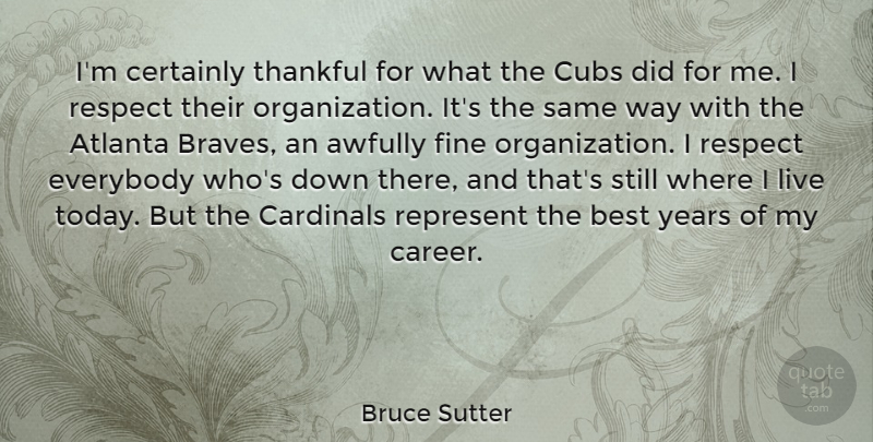 Bruce Sutter Quote About Atlanta, Years, Careers: Im Certainly Thankful For What...