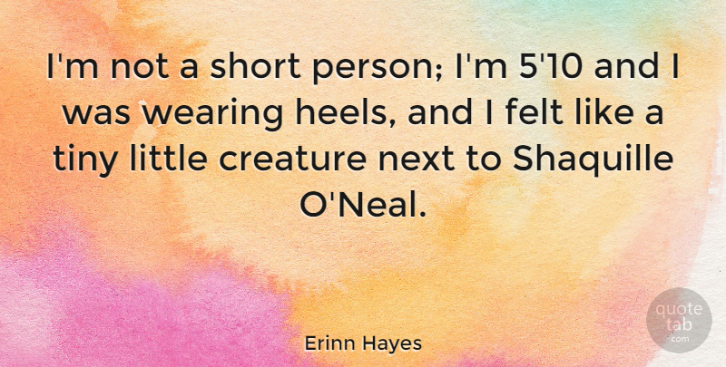 Erinn Hayes Quote About Felt, Next, Tiny, Wearing: Im Not A Short Person...
