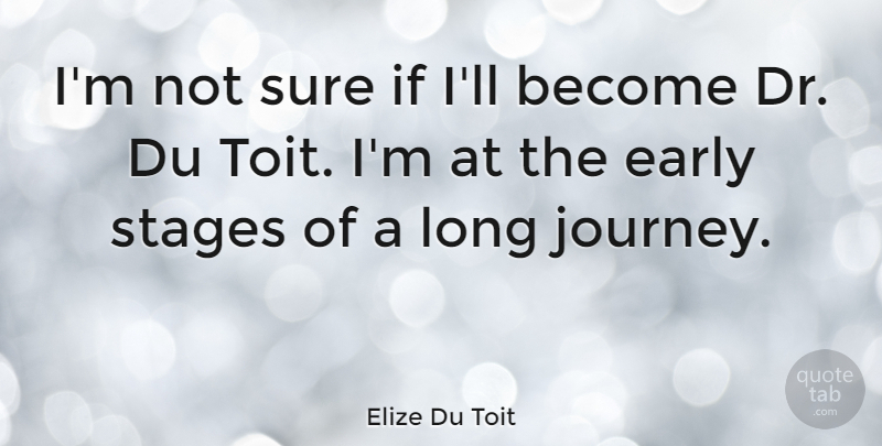 Elize Du Toit Quote About Early, Stages, Sure: Im Not Sure If Ill...