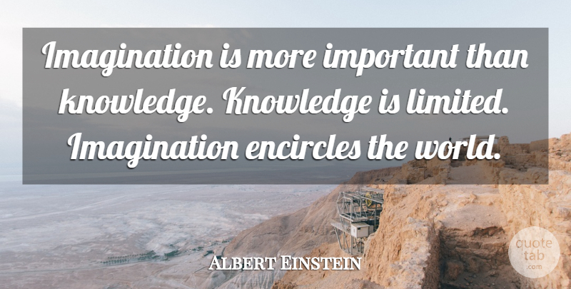 Albert Einstein Quote About Education, Knowledge, Imagination Creativity: Imagination Is More Important Than...