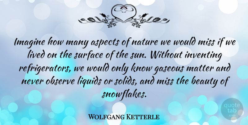 Wolfgang Ketterle Quote About Aspects, Beauty, Imagine, Inventing, Lived: Imagine How Many Aspects Of...