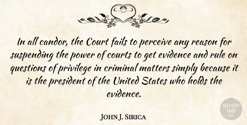 John J. Sirica Quote About Court, Courts, Criminal, Evidence, Fails: In All Candor The Court...