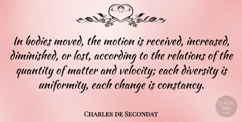 Charles de Secondat Quote About According, Bodies, Change, French Philosopher, Matter: In Bodies Moved The Motion...