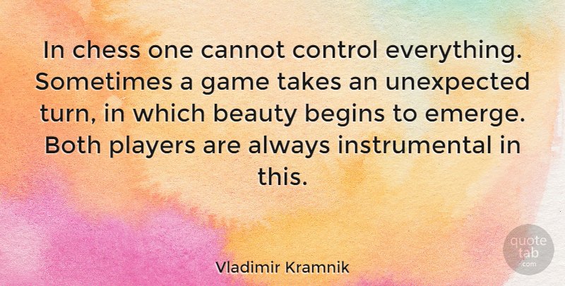 Vladimir Kramnik Quote About Player, Games, Chess: In Chess One Cannot Control...