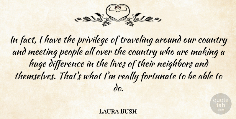 Laura Bush Quote About American Firstlady, Country, Fortunate, Huge, Lives: In Fact I Have The...