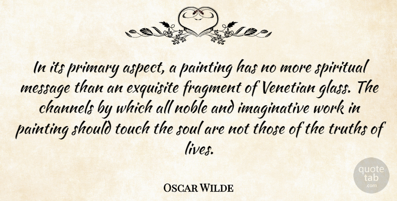 Oscar Wilde Quote About Channels, Exquisite, Fragment, Message, Noble: In Its Primary Aspect A...