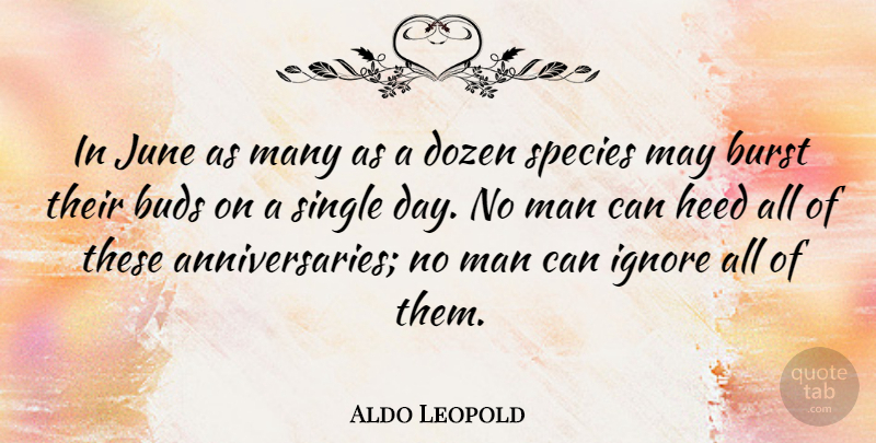 Aldo Leopold Quote About Anniversary, Nature, Spring: In June As Many As...