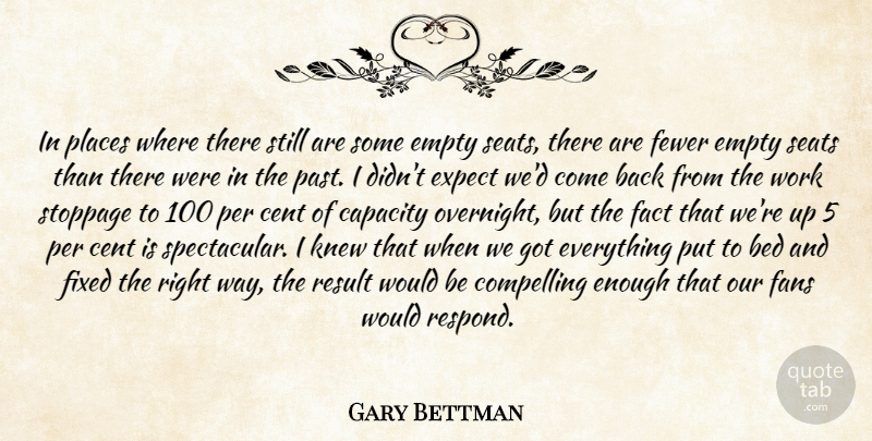 Gary Bettman Quote About Bed, Capacity, Cent, Compelling, Empty: In Places Where There Still...