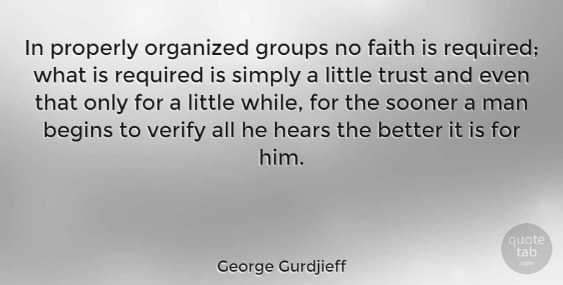 George Gurdjieff Quote About Faith, Groups, Hears, Man, Organized: In Properly Organized Groups No...