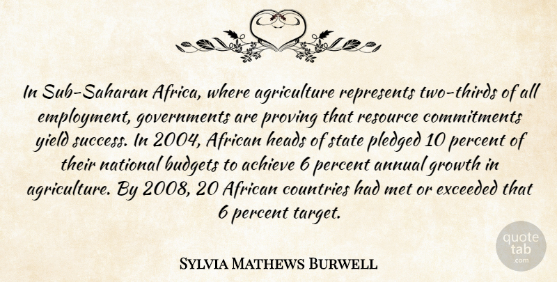 Sylvia Mathews Burwell Quote About African, Annual, Budgets, Countries, Exceeded: In Sub Saharan Africa Where...
