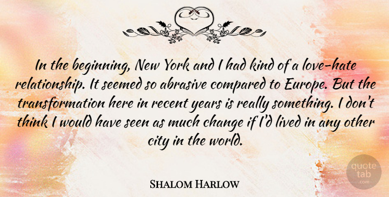 Shalom Harlow Quote About New York, Hate, Thinking: In The Beginning New York...
