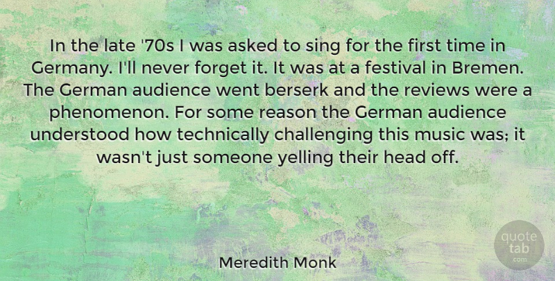 Meredith Monk Quote About Asked, Audience, Berserk, Festival, Forget: In The Late 70s I...