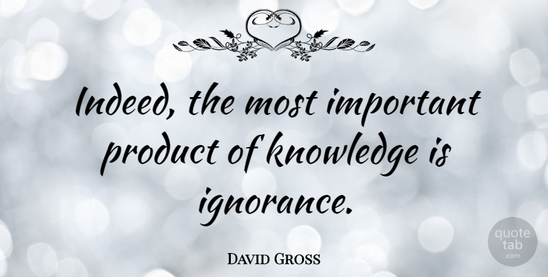 David Gross Quote About Knowledge, Product: Indeed The Most Important Product...