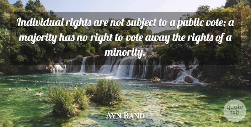 Ayn Rand Quote About Freedom, Rights, Political: Individual Rights Are Not Subject...