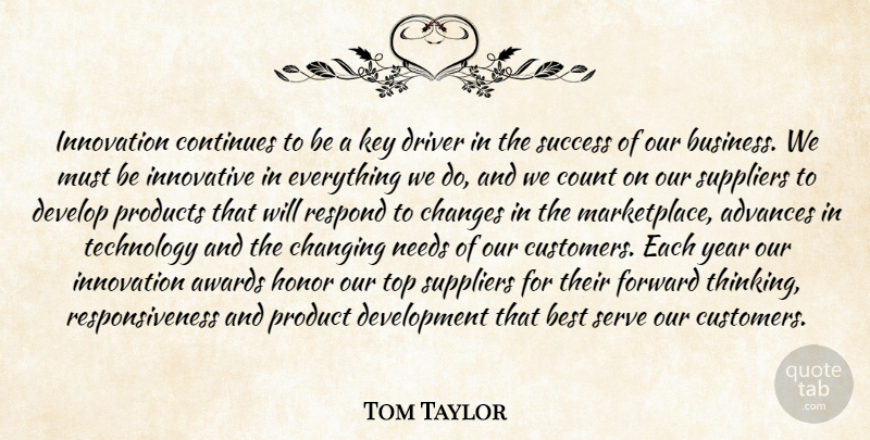 Tom Taylor Quote About Advances, Awards, Best, Changes, Changing: Innovation Continues To Be A...