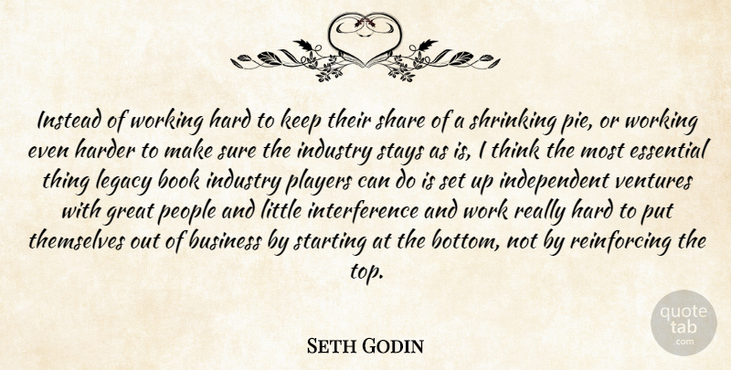 Seth Godin Quote About Book, Independent, Player: Instead Of Working Hard To...