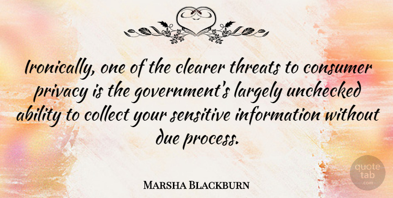 Marsha Blackburn Quote About Ability, Clearer, Collect, Consumer, Due: Ironically One Of The Clearer...