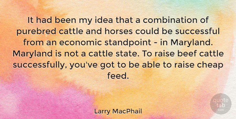 Larry MacPhail Quote About Beef, Cattle, Horses, Maryland, Raise: It Had Been My Idea...