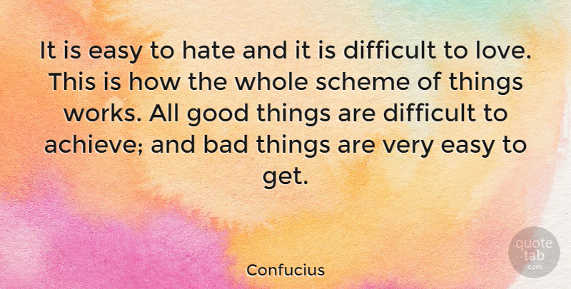 Confucius Quote About Missing Someone, Hate, Love You: It Is Easy To Hate...