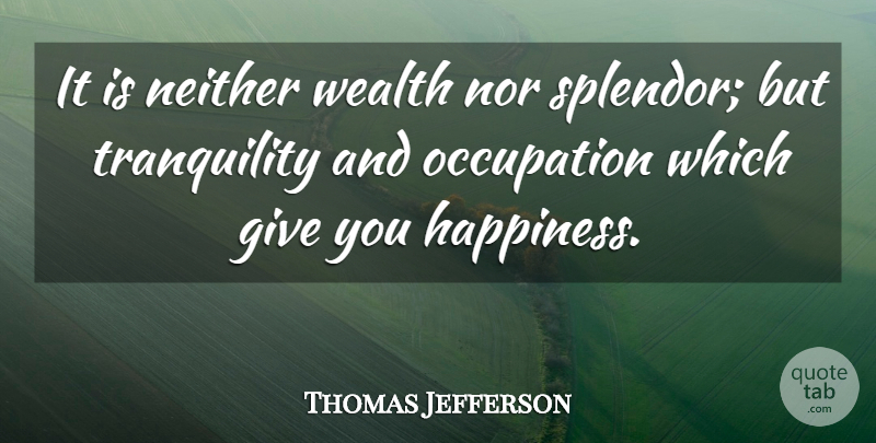 Thomas Jefferson Quote About Life, Happiness, Work: It Is Neither Wealth Nor...