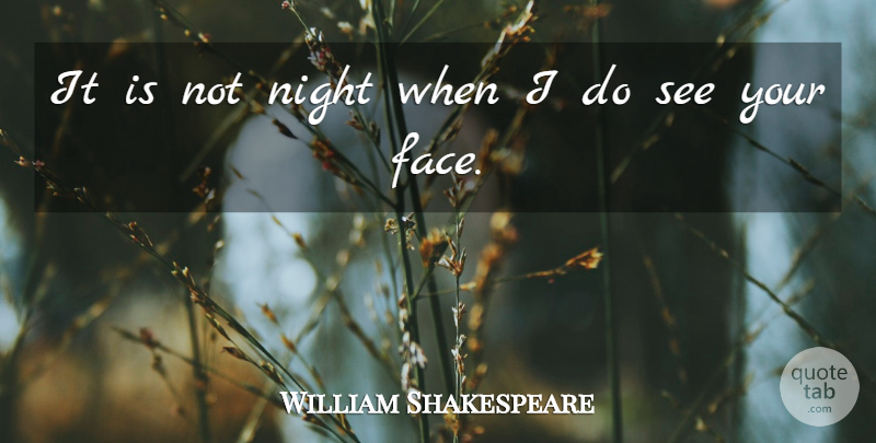 William Shakespeare Quote About Romantic, Night, Faces: It Is Not Night When...
