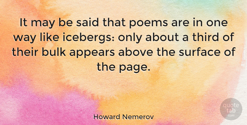 Howard Nemerov Quote About Literature, May, Pages: It May Be Said That...