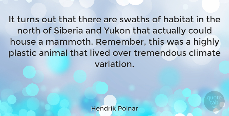 Hendrik Poinar Quote About Climate, Habitat, Highly, Lived, North: It Turns Out That There...